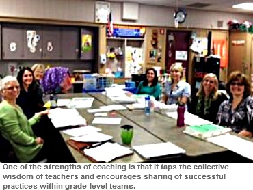 Image of WriteSteps Coaching Director Arlynn King meeting with a grade level group of teachers to hone their Common Core writing practices.