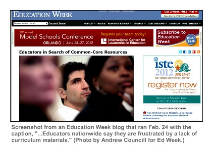Image of Education Week blog about scarcity of Common Core resources.