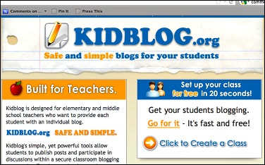 Screen shot of kidblog.org home page, a free technology tool to meet the K-5 Common Core writing standard for digital publishing, by WriteSteps.